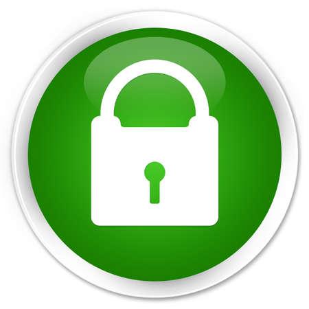 Padlock icon isolated on premium green round button abstract illustration Stock Photo