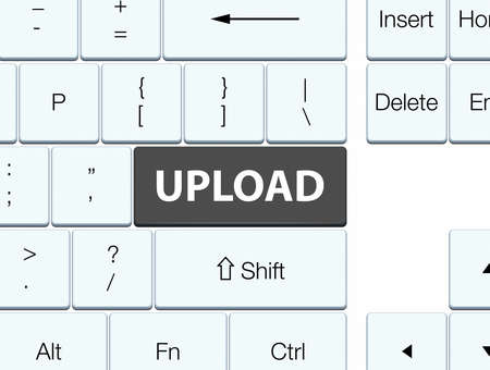 Upload isolated on black keyboard button abstract illustration