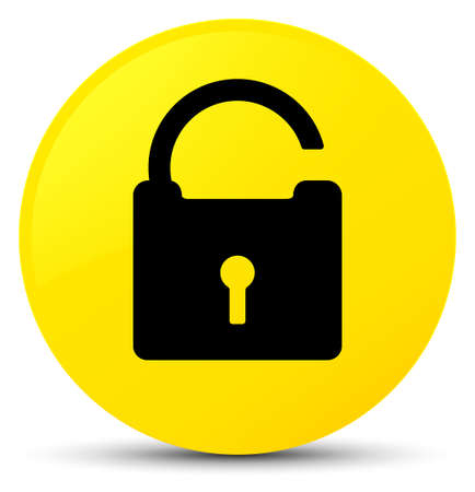 Unlock icon isolated on yellow round button abstract illustration Stock Photo