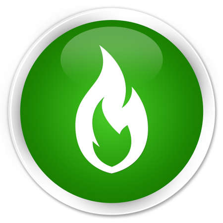 fire circle: Fire flame icon isolated on premium green round button abstract illustration