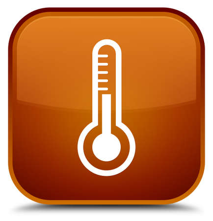 medical instrument: Thermometer icon isolated on special brown square button abstract illustration