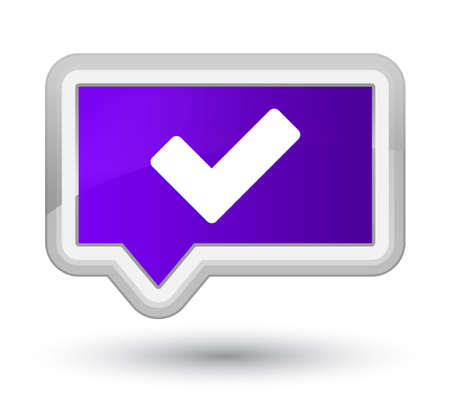 Validate icon isolated on prime purple banner button abstract illustration