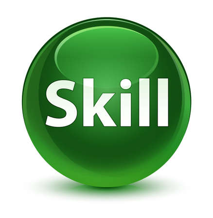 Skill isolated on glassy soft green round button abstract illustration Stock Photo