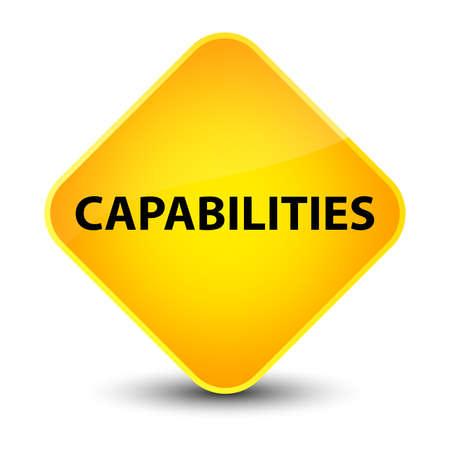 Capabilities isolated on elegant yellow diamond button abstract illustration