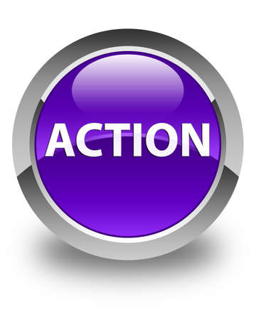 Action isolated on glossy purple round button abstract illustration