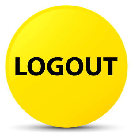 Logout isolated on yellow round button abstract illustration