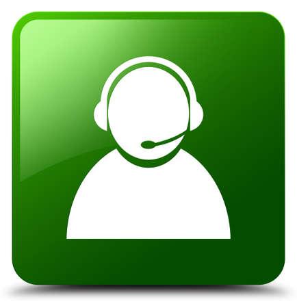 Icono de atención al cliente aislado en la ilustración abstracta de botón cuadrado verde Foto de archivo - 88835680