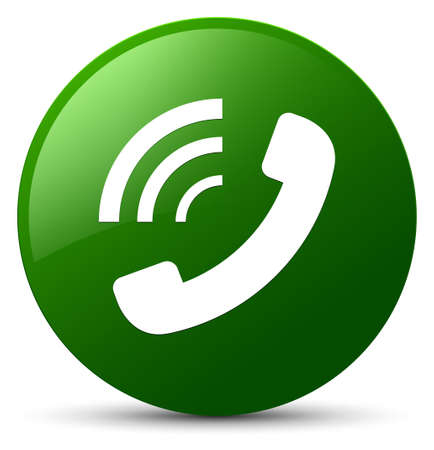 Phone ringing icon isolated on green round button abstract illustration Foto de archivo
