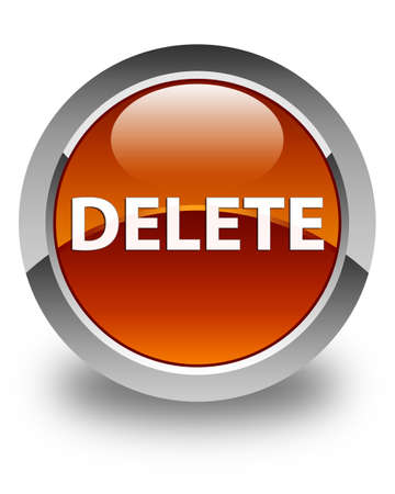 Delete isolated on glossy brown round button abstract illustration
