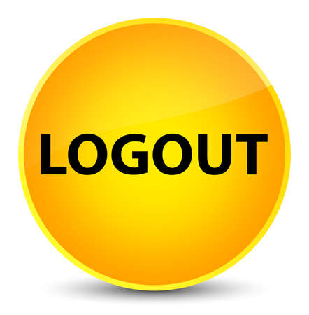 Logout isolated on elegant yellow round button abstract illustration