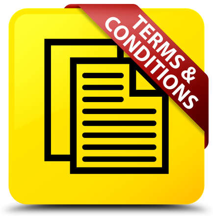 Terms and conditions (pages icon) isolated on yellow square button with red ribbon in corner abstract illustration