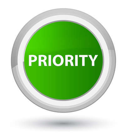 Priority isolated on prime green round button abstract illustration