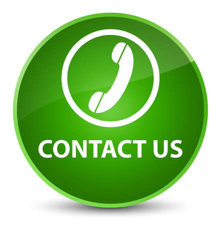 Contact us (phone icon) isolated on elegant green round button abstract illustration