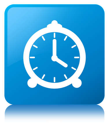 Alarm clock icon isolated on cyan blue square button reflected abstract illustration