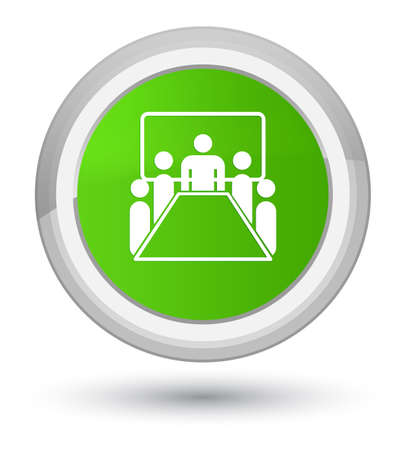 Meeting room icon isolated on prime soft green round button abstract illustration Stock Photo