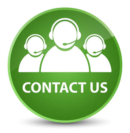 Contact us (customer care team icon) isolated on elegant soft green round button abstract illustration