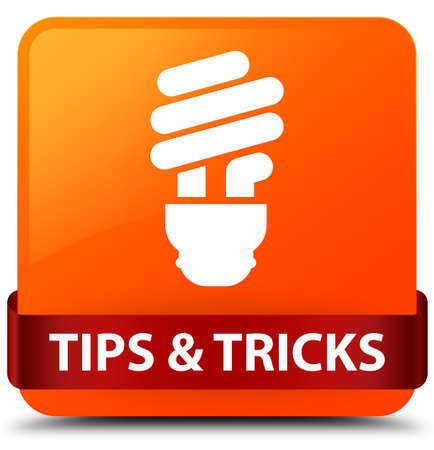 Tips and tricks (bulb icon) isolated on orange square button with red ribbon in middle abstract illustration
