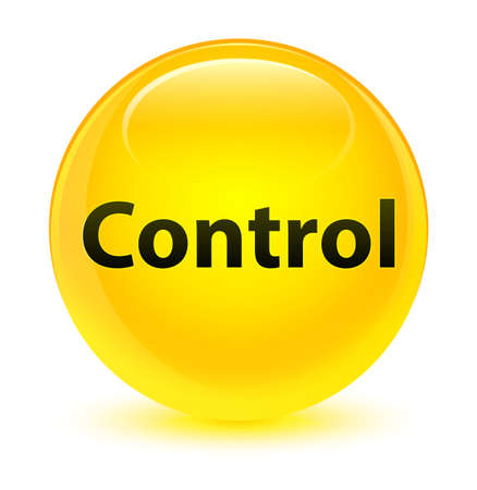 Control isolated on glassy yellow round button abstract illustration