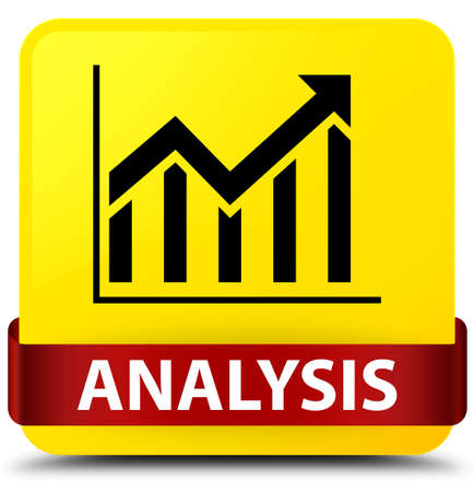 Analysis (statistics icon) isolated on yellow square button with red ribbon in middle abstract illustration Stock Photo