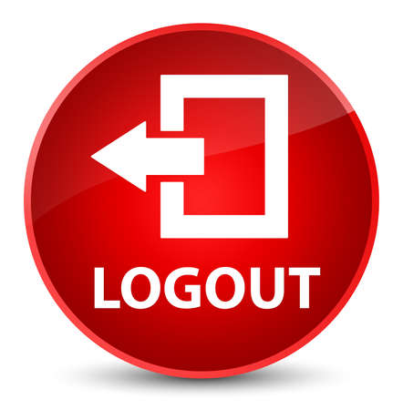 Logout isolated on elegant red round button abstract illustration Stock Photo