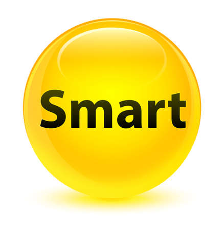Smart isolated on glassy yellow round button abstract illustration