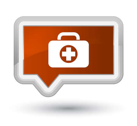 First aid kit bag icon isolated on prime brown banner button abstract illustration Stock Photo