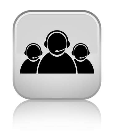 Customer care team icon isolated on special white square button reflected abstract illustration