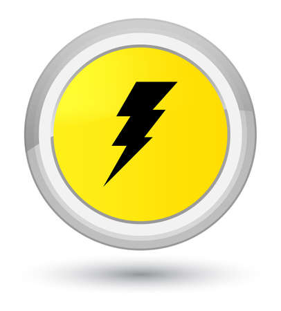 Electricity icon isolated on prime yellow round button abstract illustration