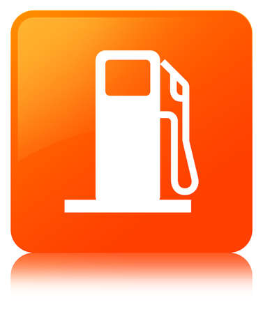filling station: Fuel dispenser icon isolated on orange square button reflected abstract illustration Stock Photo