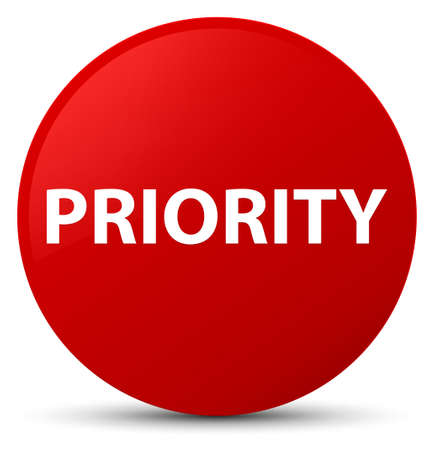 Priority isolated on red round button abstract illustration Фото со стока