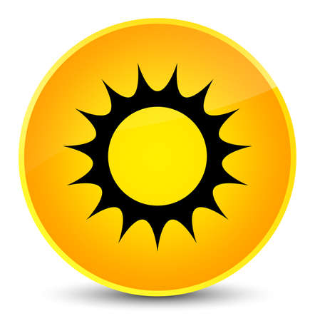 Sun icon isolated on elegant yellow round button abstract illustration
