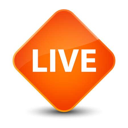 Live isolated on elegant orange diamond button abstract illustration