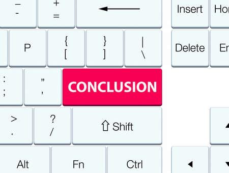 Conclusie op de roze abstracte illustratie die van de toetsenbordknoop wordt geïsoleerd