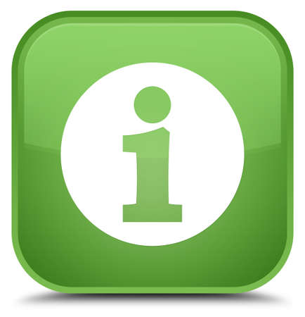 Info icon isolated on special soft green square button abstract illustration Stock Photo
