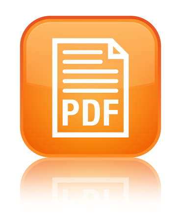 PDF document icon isolated on special orange square button reflected abstract illustration