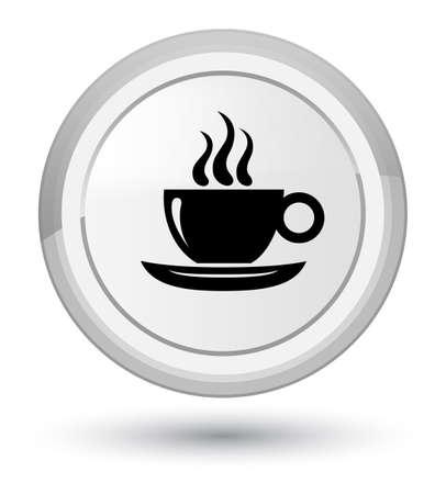 Koffiekopje pictogram geïsoleerd op eerste witte ronde knop abstracte illustratie Stockfoto