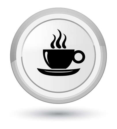Coffee cup icon isolated on prime white round button abstract illustration