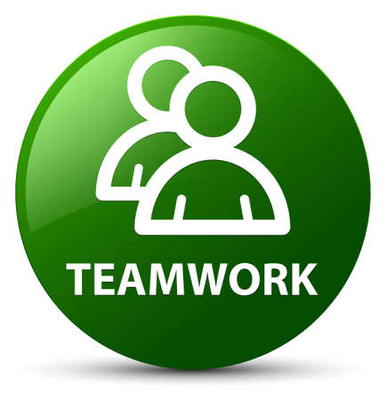 Teamwork (group icon) isolated on green round button abstract illustration Stock Photo