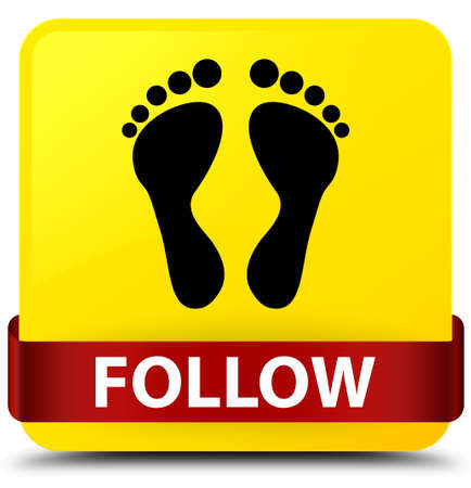 Follow (footprint icon) isolated on yellow square button with red ribbon in middle abstract illustration