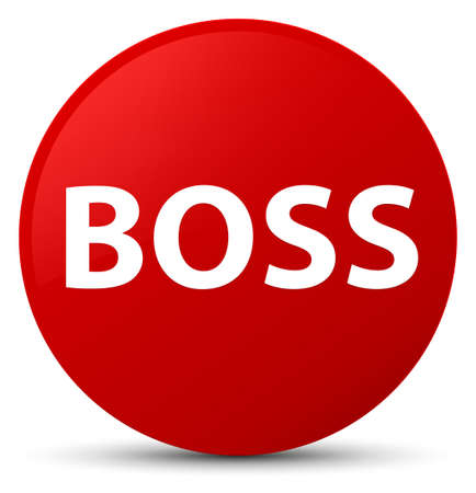 Boss isolated on red round button abstract illustration