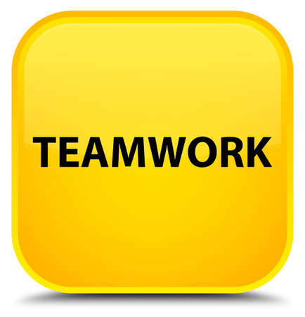 Teamwork isolated on special yellow square button abstract illustration Stock Photo