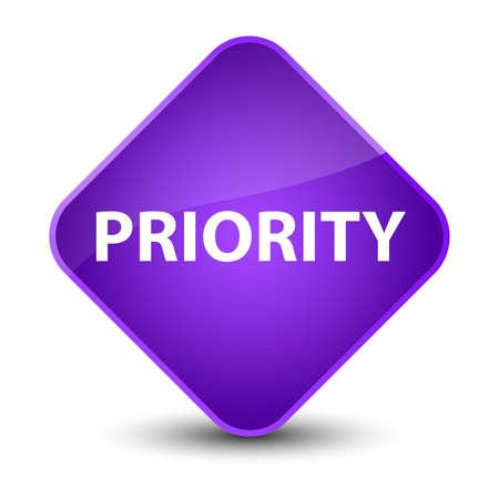 Priority isolated on elegant purple diamond button abstract illustration Фото со стока