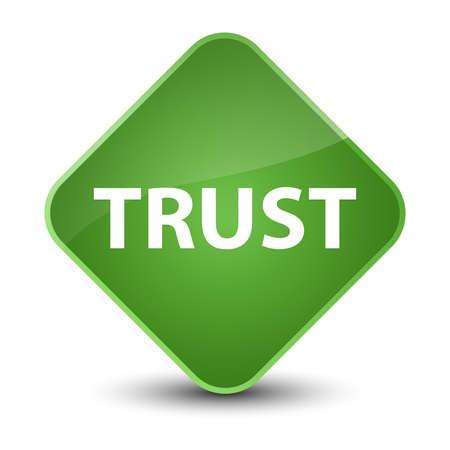 Trust isolated on elegant soft green diamond button abstract illustration Stock Photo