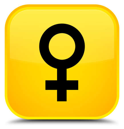 Female sign icon isolated on special yellow square button abstract illustration Banque d'images