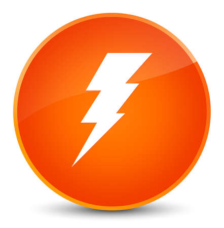 Electricity icon isolated on elegant orange round button abstract illustration