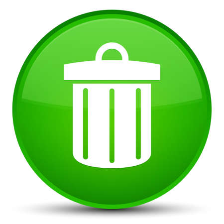 Recycle bin icon isolated on special green round button abstract illustration