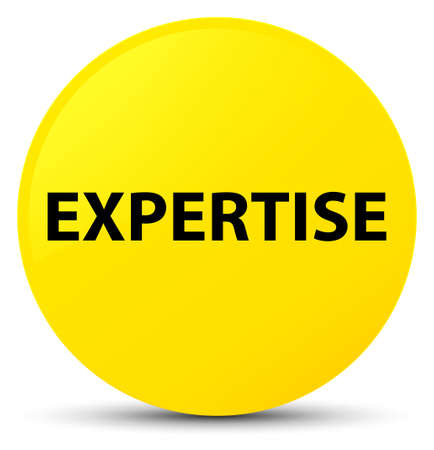 Expertise isolated on yellow round button abstract illustration