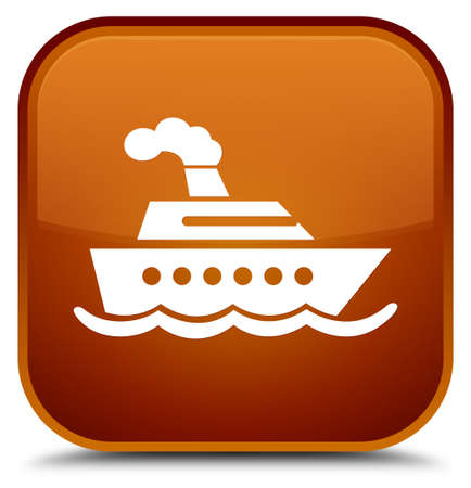 Cruise ship icon isolated on special brown square button abstract illustration Stock Photo