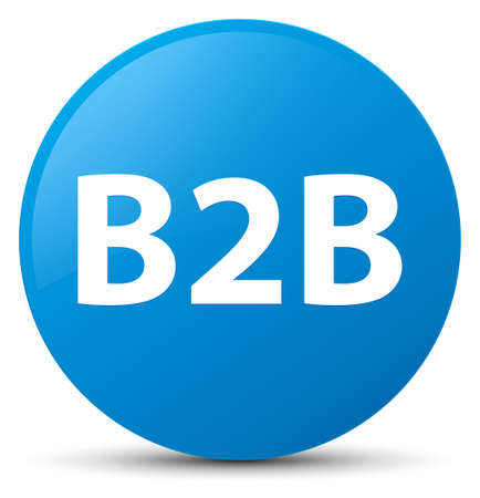 b2b: B2b isolated on cyan blue round button abstract illustration Foto de archivo