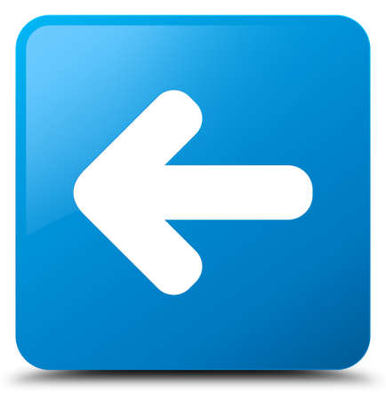 Back arrow icon isolated on cyan blue square button abstract illustration Stock Photo